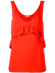 P.A.R.O.S.H. Ruffled Detail Tank Red