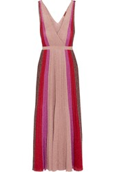 Missoni Pleated Metallic Stretch Knit Gown Pink