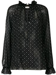 Saint Laurent Heart Print Blouse Black