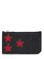 Saint Laurent Metallic Stars Leather Zip Card Holder
