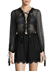 Zimmermann Oleander Silk Lattice Romper Noir