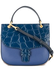 Tory Burch Mcgraw Embossed Satchel Blue