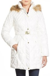 Guess Faux Fur Trim Belted Quilted Coat White