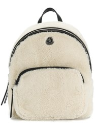 Moncler Zip Around Backpack Polyamide Lambs Wool Nude Neutrals