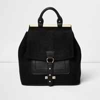 River Island Womens Black Buckle Front Panel Backpack