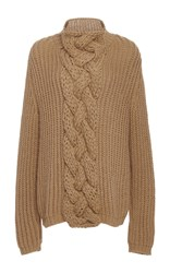 Hensely Cableknit Turtleneck Sweater Tan
