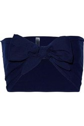 Solid And Striped Tie Front Cotton Seersucker Bandeau Top Midnight Blue