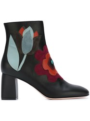 Red Valentino Flower Applique Boots Black