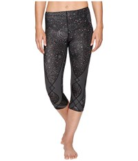 Cw X 3 4 Stabilyx Tights Print Grey Rose Print Women's Workout Pewter