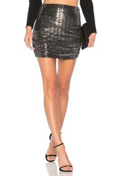 Endless Rose Sparkling Ruched Skirt Metallic Silver