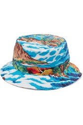 R 13 R13 Printed Cotton Twill Bucket Hat Blue