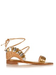 Paula Cademartori Lotus Lace Up Leather And Cork Sandals Gold Multi