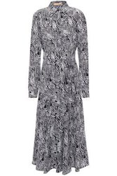 Michael Kors Collection Woman Zebra Print Silk Crepe De Chine Midi Shirt Dress Animal Print