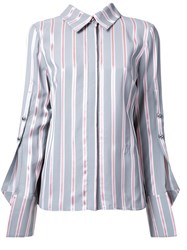 Monse Buttoned Sleeve Striped Shirt Grey