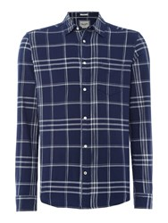 Wrangler Men's Long Sleeve Checked Shirt Blue