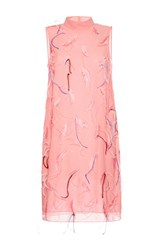 Emilio Pucci Feather Embroidered Shift Dress Pink