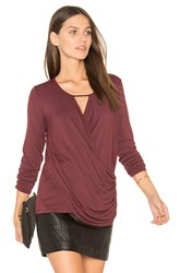 Krisa Ruched Surplice Top Burgundy