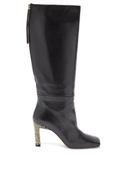 Wandler Isa Python Effect Heel Knee High Leather Boots Black Multi