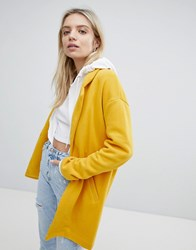 Pull And Bear Pullandbear Longline Tailored Coat With Pocket Detail Yellow