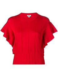 Kenzo Ruffle Trimmed Knitted Top Red