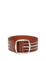 Etro Woven Stitch Floral Leather Belt Tan