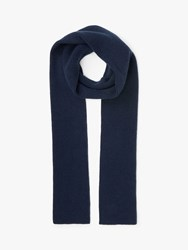 John Lewis And Partners Ribbed Cashmere Scarf Navy