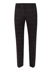 Topman Red Dark Burgundy Check Skinny Fit Dress Pants