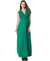 Seraphine Maternity Twist Front Maxi Dress Green