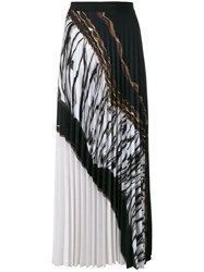 D.Exterior Pleated Maxi Skirt Women Polyester Spandex Elastane 44 Black