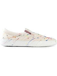 Dsquared2 Paint Splatter Slip On Sneakers Nude And Neutrals