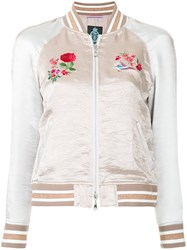 Guild Prime Embroidered Bomber Jacket Pink And Purple