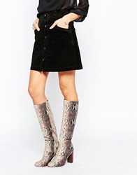 Asos Come On Then Knee High Boots Beige