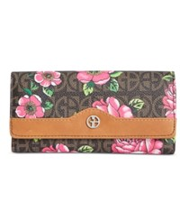 Giani Bernini Floral Block Signature Receipt Wallet Created For Macy's Brown Rose