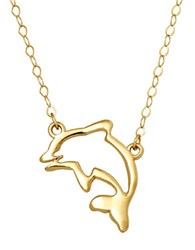 Lord And Taylor 14 Kt. Yellow Gold Dolphin Silhouette Charm Necklace