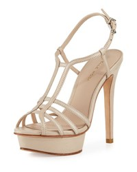 Pelle Moda Marble Leather Strappy Platform Sandal Cream