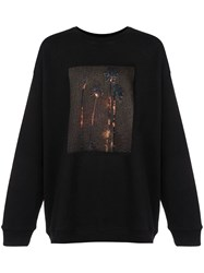Adaptation Burning Palm Tree Print Sweatshirt Black