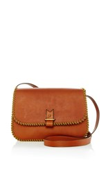 Lacontrie Rohan Medium Shoulder Bag In Tan With Yellow Nylon Piping