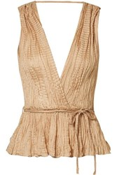 Mes Demoiselles Shaabi Crinkled Silk Satin Peplum Top Neutral