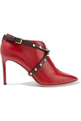 Valentino Rockstud Leather Ankle Boots Red