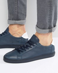 Selected Homme David Leather Trainers Navy Green