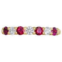 Ewa 18Ct Yellow Gold Brilliant Cut Ruby And Diamond Half Eternity Ring