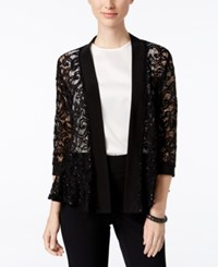 R And M Richards Three Quarter Sleeve Sequined Lace Jacket Black
