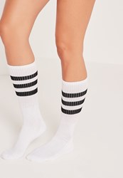 Missguided Three Stripe Sports Socks Black White