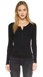 Free People Megs Ribbed Layering Tee Black