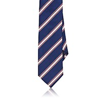 Barneys New York Men's Diagonal Striped Woven Necktie Navy