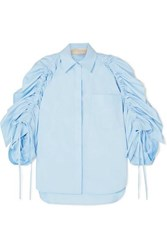 Antonio Berardi Ruched Cotton Poplin Shirt Blue
