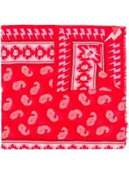 Zadig And Voltaire Bindi Paisley Print Scarf Red