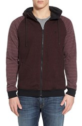 Men's Hurley 'Powerplant' Lined Zip Hoodie Mahogany Red