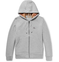 Burberry Cotton Blend Jersey Hoodie Gray