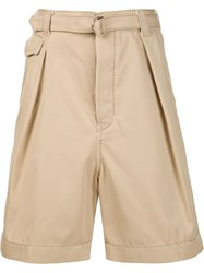 Sacai Pleated Shorts Nude And Neutrals
